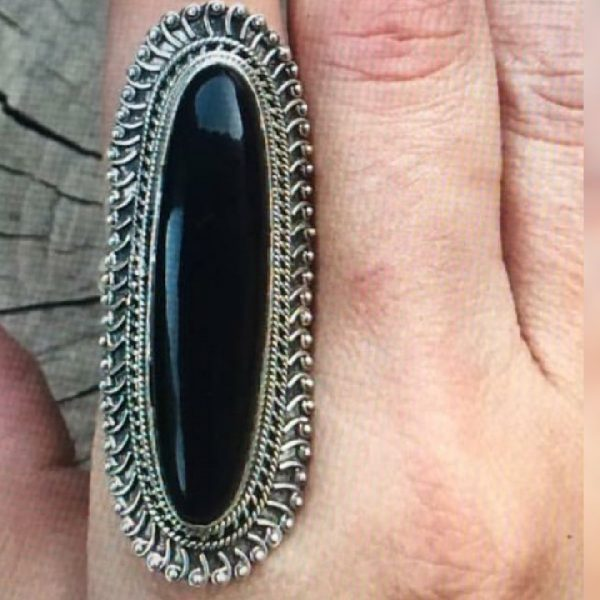 Vintage Handmade Big 925 Sterling Silver Ring with Black Onyx Gemstone