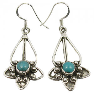 925 Sterling Silver Natural Turquoise Oxidized Earrings
