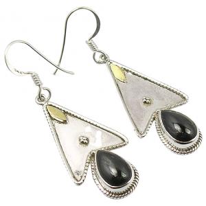 Two Tone Black Onyx Star Design 925 Sterling Silver Earrings