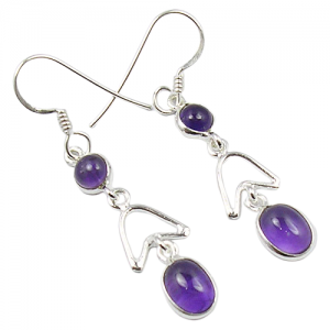 Bezel Design Amethyst Natural Gemstone Earrings (925 Sterling Silver)