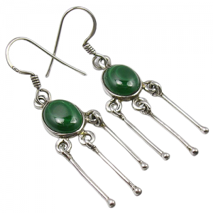 Dangle Design - Malachite Cab 925 Sterling Silver Earrings