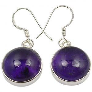 Cab Amethyst Handmade 925 Silver Jewelry Earrings
