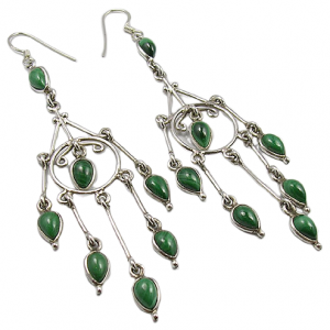 Chandelier Earrings - Malachite Cab 925 Silver Jewelry