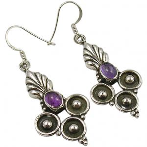 Dye Piece 925 Sterling Silver Cab Amethyst Handmade Earrings