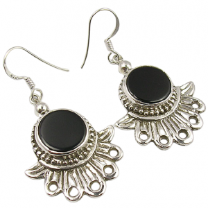 Handcrafted Black Onyx Unique Sterling Silver 925 Earrings