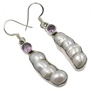 Handcrafted Biwa Pearl & Amethyst Cut 925 Silver Earrings