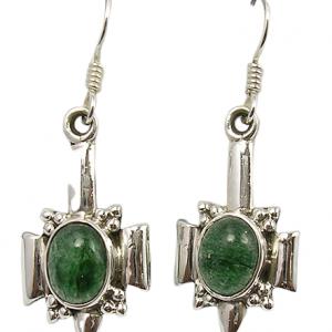 Green Aventurine Handmade Vintage 925 Silver Earrings