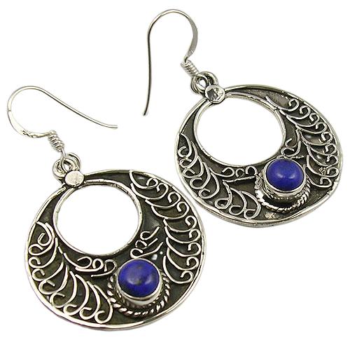 Filigree Style 925 Sterling Silver Lapis Lazuli Earrings