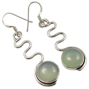 Zig Zag Design Aqua Chalcedony Handmade 925 Silver Earrings
