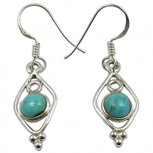 Round Turquoise Affordable Wholesale Price 925 Silver Earrings