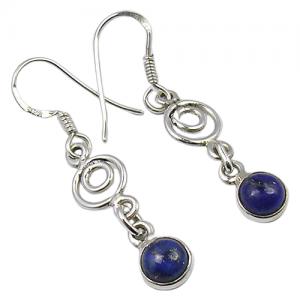 Bezel Style Lapis Lazuli Handmade 925 Silver Earrings
