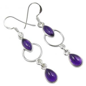 Bezel Design Amethyst Cab Gemstone Earrings (925 Sterling Silver)