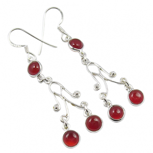 Chandelier 925 Silver Carnelian Cab EarringS