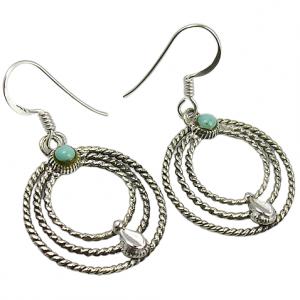 925 Sterling Silver Turquoise Gemstone Vintage Earring