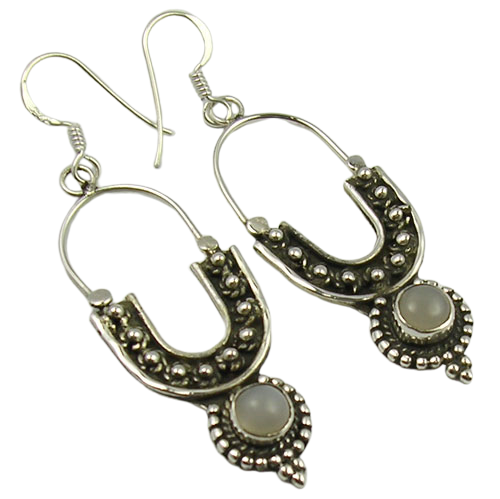 Designer Earring with Rainbow Moonstone Cab Gemstone 925 Silver