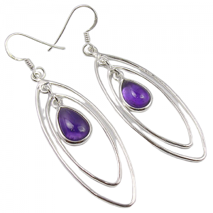 Wire Design Cab Amethyst Pear 925 Silver Earrings