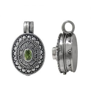 Prayer Box Pendant in Detailed Design with Peridot Gemstone