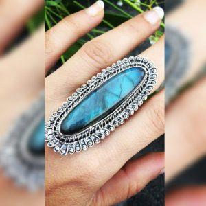 Labradorite Blue Fire XXL Handmade Solid 925 Silver Designer Ring