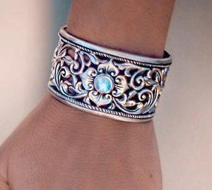 Mother Of Pearl Vintage 925 Sterling Silver Cuff Bracelet Adjustable