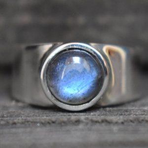 Labradorite Handmade Heavy Men's Ring (925 Sterling Silver)