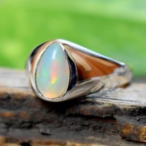 Natural Ethiopian Opal Cab 925 Sterling Silver Men's Ring