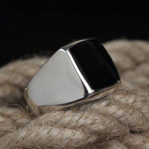 Flat Top Black Onyx Gemstone Men's Ring Handmade 925 Silver Jewelry