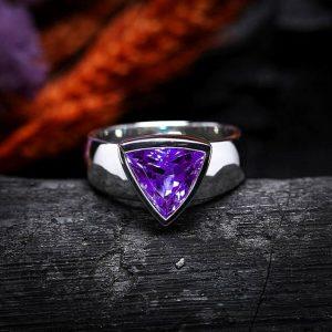 Amethyst Trillion Cut 925 Sterling Silver Handamde Mens Ring