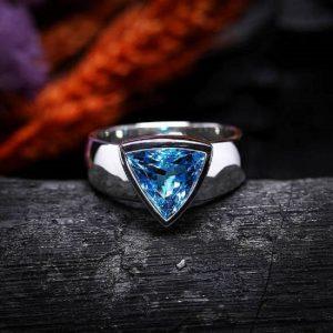 Blue Topaz Trillion Cut 925 Sterling Silver Handmade Mens Ring