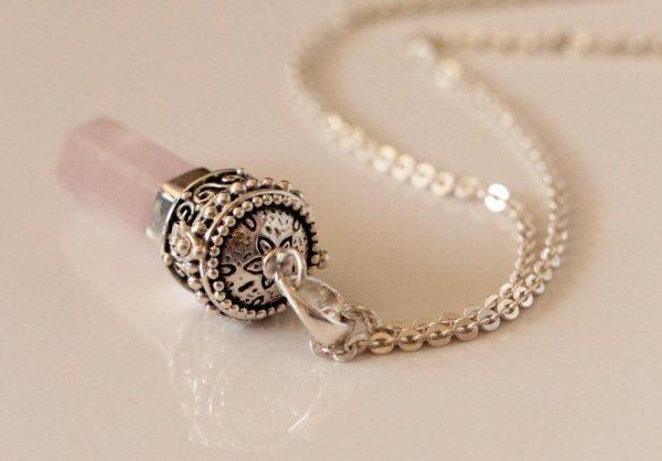 Rose Quartz Pencil Prayer Box Pendant Unique 925 Silver Jewelry