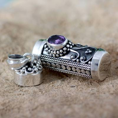 Sterling Silver Prayer Prayer Box Amethyst Pendant from India