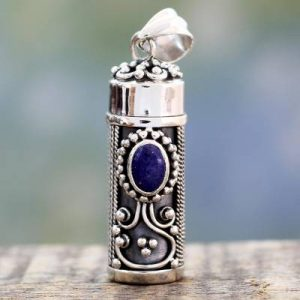 Sterling Silver Prayer Prayer Box Lapis Pendant from India