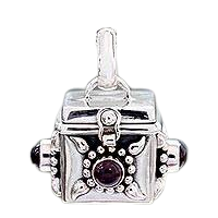 Square Prayer Box Pendant Necklace with Garnet