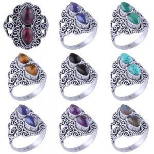 Wholesale 925 Silver Rings Mix Lot 100 Grams Multi Gemstone WHR7