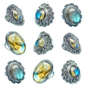 Wholesale 925 Sterling Silver Rings Mix Lot 100 Grams of Labradorite