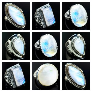 Wholesale 925 Silver Rings Mix Lot 100 Grams of Rainbow Moonstone WHR6