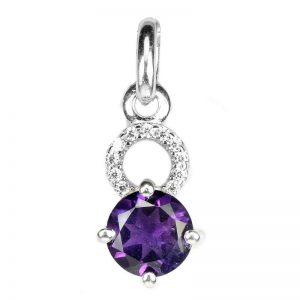 NATURAL ROUND PURPLE AMETHYST 925 SILVER CASTING PENDANT