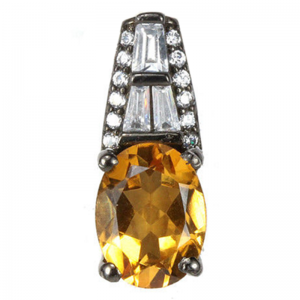 NATURAL TOP QUALITY OVAL CITRINE 925 SILVER PENDANT