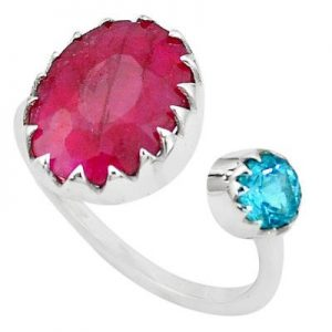 Ruby & Blue Topaz Cut GemStone 925 Silver Handmade Ring