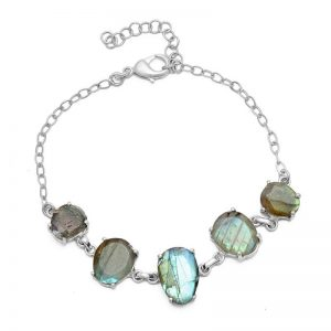 Oval Shape Labradorite Gemstone 925 Sterling Silver Bracelet CutB3