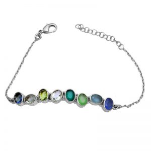 Oval Shape Multi Color Gemstone 925 Sterling Silver Bracelet CutB9
