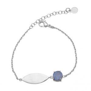 Round Shape Labraodorite Gemstone 925 Silver Gold Plated Bracelet CutB5