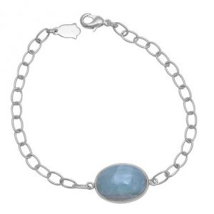 Oval Shape Aquamarine Gemstone 925 Silver Jewelry Chain Bracelet CabB12