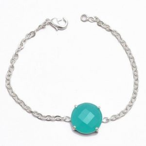Aqua Chalcedony Gemstone 925 Sterling Silver Prong Setting Bracelet Jewelry CutB7