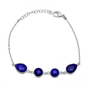 Pear Shape Lapis Lazuli Gemstone 925 Sterling Silver Bracelet CutB8