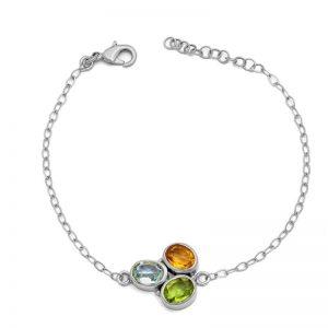 Peridot Citrine Topaz Gemstone 925 Sterling Silver Bracelet CutB4