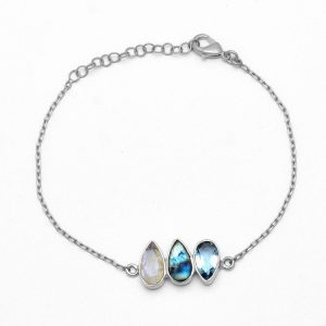 Labradorite Topaz Moonstone 925 Sterling Silver Gold Plated Bracelet CutB6