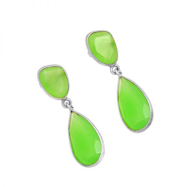 Bezel Setting Prehnite Chalcedony Gemstone 925 Silver Stud Earrings StudE3