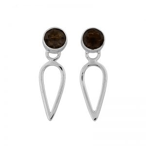 Round Shape Smoky Quartz Gemstone 925 Sterling Silver Earrings CutE1
