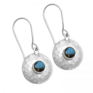 Cab Labradorite Gemstone 925 Sterling Silver Hammered Earrings CabE3
