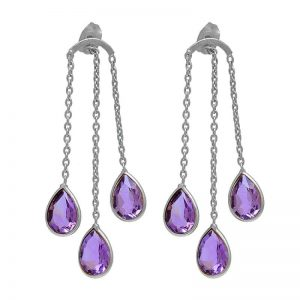 Pear Shape Amethyst Gemstone 925 Sterling Silver Stud Earrings StudE11